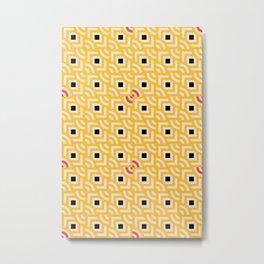 Round Pegs Square Pegs Yellow Metal Print