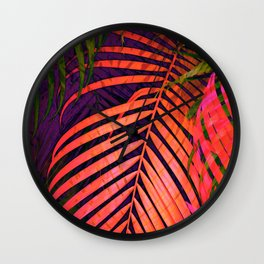 COLORFUL TROPICAL LEAVES no3 Wall Clock