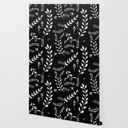 White Leaves Pattern #3 #drawing #decor #art #society6 Wallpaper