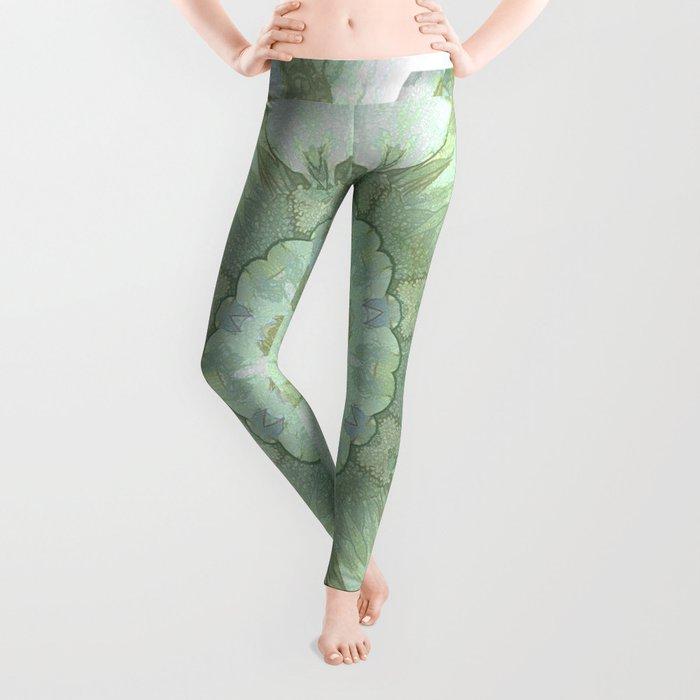 Soft Green Floral Kaleidoscope Leggings