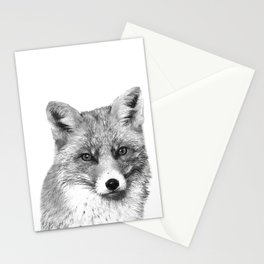 Black and White Fox Stationery Cards