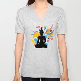 Black Buddha With Colorful Energy Unisex V-Neck