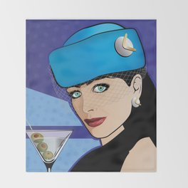 Beautiful Pop Art Girl with Martini and Stewardess Hat Throw Blanket