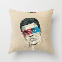 superheroes Throw Pillows featuring Superheroes SF by Blaine Fontana