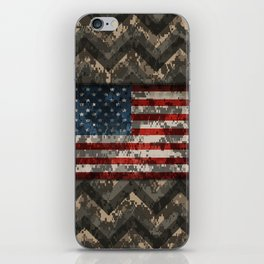 Digital Camo Patriotic Chevrons American Flag iPhone Skin