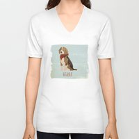 beagle V-neck T-shirts featuring Beagle by 52 Dogs