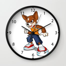 Cartoon angry chihuahua. Wall Clock