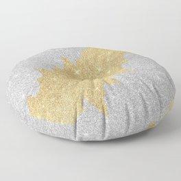 Chic glam silver gold glitter elegant brushstrokes  Floor Pillow