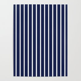 Navy Blue and White Vertical Stripes Pattern Poster