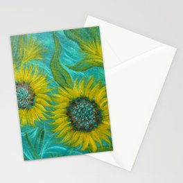 Sunflower Abstract on Turquoise I Stationery Cards