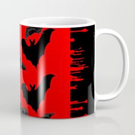 RED HALLOWEEN BATS ON BLEEDING RED ART DESIGN Coffee Mug