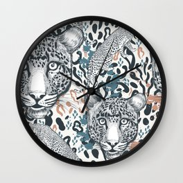 Animal vector print with leopard spots ornament pattern Wall Clock
