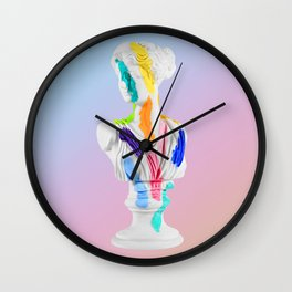 A Grecian Bust With Color Tests (Cotton Candy Gradient Edition) Wall Clock