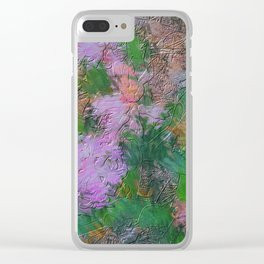 Embossed Impressionist pink flowers Clear iPhone Case