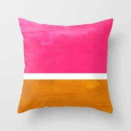 Magenta Yellow Ochre Rothko Minimalist Mid Century Abstract Color Field Squares Throw Pillow