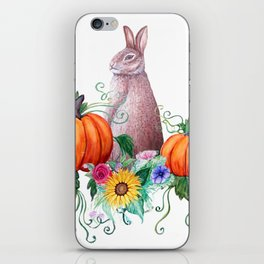 Rabbit, pumpkins , sunflowers in watercolor iPhone Skin