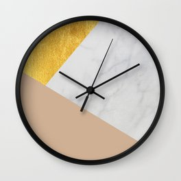 Carrara Marble with Gold and Pantone Hazelnut Color Wall Clock