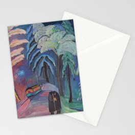 'Blue Sparks Fly' lovers winter landscape painting by Marianne von Werefkin Stationery Cards