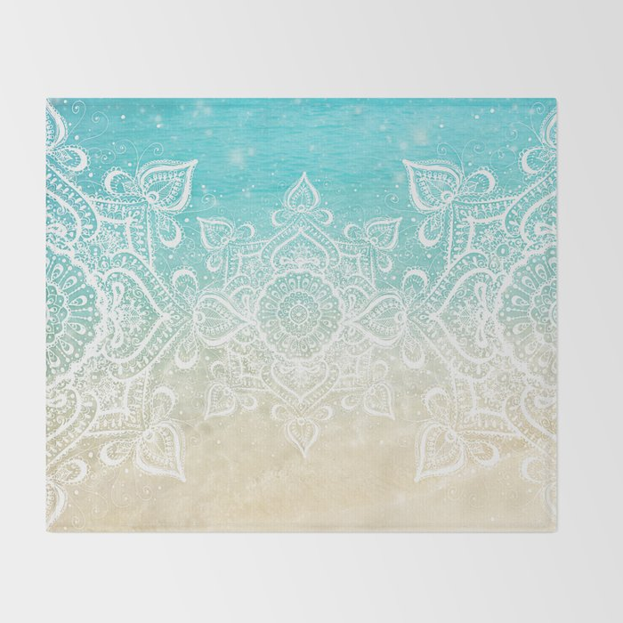 Beach Mandala Throw Blanket