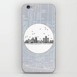Detroit, Michigan City Skyline Illustration Drawing iPhone Skin