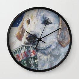 Golden Retriever Christmas Puppy dog art from an original painting by L.A.Shepard Wall Clock