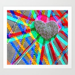 Multi Heart Rays 1 Art Print