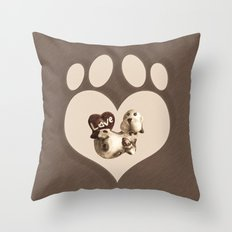 Puppy Love - Sketch Style Throw Pillow