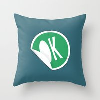 sticker Throw Pillows featuring OK Sticker by Chad De Gris
