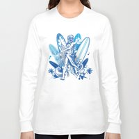 surfboard Long Sleeve T-shirts featuring poseidon surfer on surfboard by Doomko