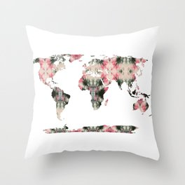 Shibori Map of World 3 Throw Pillow