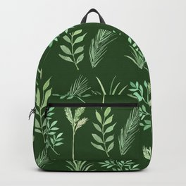 Bouquet of branches and leaves pattern,  Dark Green background Backpack