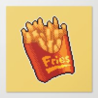 fries Canvas Prints featuring Pixel Fries by TheSkywaker