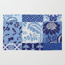 Blue and White Patchwork Squares Rug