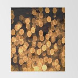 Golden Bokeh Light On A Black Background #decor #society6 Throw Blanket