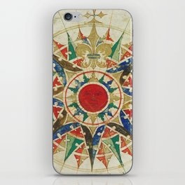Vintage Compass Rose Diagram (1502) iPhone Skin