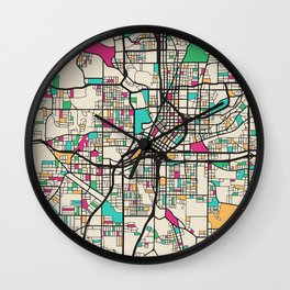 Colorful City Maps: Atlanta, Georgia Wall Clock