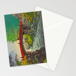 Vintage Japanese Woodblock Print Garden Red Bridge River Rapids Beautiful Green Forest Landscape Stationery Cards