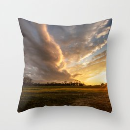 Mississippi Delta - Sunset Over a Farm After Stormy Day in Southeast Throw Pillow