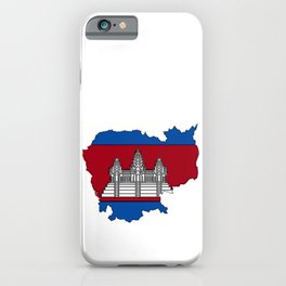 Cambodia Map with Cambodian Flag iPhone Case