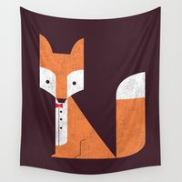 suits Wall Tapestries featuring Le Sly Fox by Picomodi