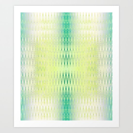 Textile-aqua & lemon Art Print