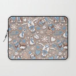 Penguin Christmas gingerbread biscuits V // brown silk background Laptop Sleeve