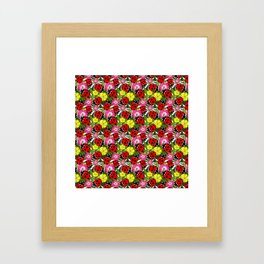 Colourful Ladybirds and Flowers Pattern Framed Art Print