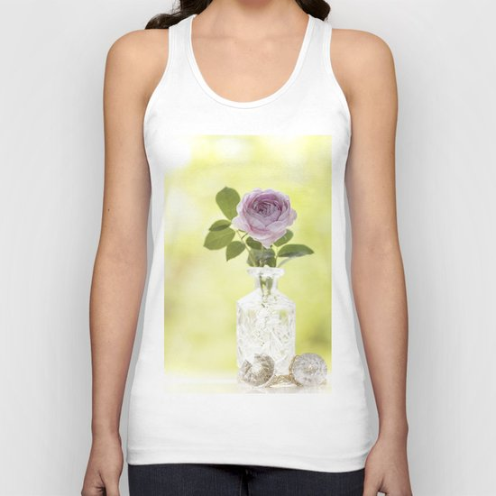 Pink Rose in crystal vase- Stilllife Roses Flowers photography Unisex Tank Top