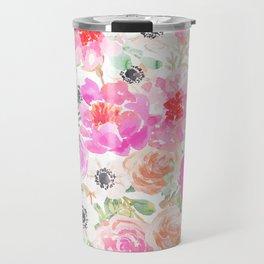 Modern pink coral watercolor hand painted floral Travel Mug