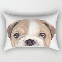 Bulldog Original painting Dog illustration original painting print Rectangular Pillow