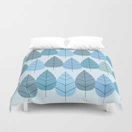 Mid century Trees in Blue Duvet Cover