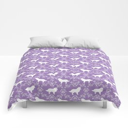 Border Collie silhouette minimal floral florals dog breed pet pattern purple and white Comforters