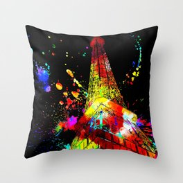Tour Eiffel Watercolor Grunge Throw Pillow