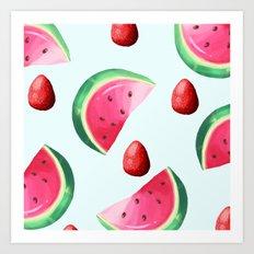 watermelon and strawberries  Art Print
